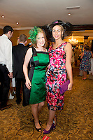 Donna Hallinan from Dock st. Galway and Bernice Garrett Sligo  at the Best Dressed Competition at Hotel Meyrick on Ladies Day of the Galway Races,  for a best dressed competition, sponsored by Brown Thomas Galway, hosted by RTE's  Republic of Telly Star Jennifer Maguire. Photo:Andrew Downes. Photo issued with Compliments, no reproduction fee on first publication..