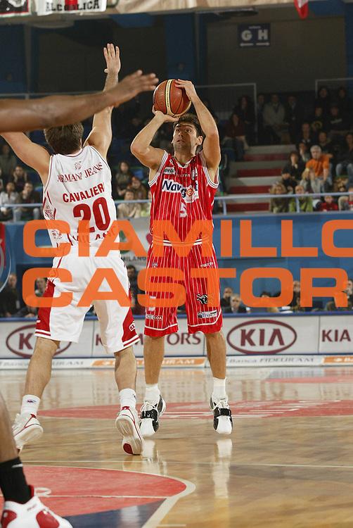 DESCRIZIONE : Milano Lega A1 2005-06 Armani Jeans Olimpia Milano Navigo.it Teramo<br /> GIOCATORE : Rajola<br /> SQUADRA : Navigo.it Teramo<br /> EVENTO : Campionato Lega A1 2005-2006<br /> GARA : Armani Jeans Olimpia Milano Navigo.it Teramo<br /> DATA : 13/11/2005 <br /> CATEGORIA : Tiro<br /> SPORT : Pallacanestro <br /> AUTORE : Agenzia Ciamillo-Castoria/G.Cottini