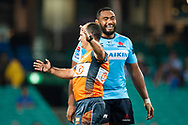 SYDNEY, NSW - MARCH 23: Waratahs player Sekope Kepu (3) has a laugh with the referee at round 6 of Super Rugby between NSW Waratahs and Crusaders on March 23, 2019 at The Sydney Cricket Ground, NSW. (Photo by Speed Media/Icon Sportswire)