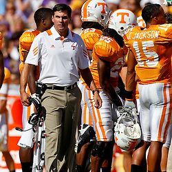 Oct 2, 2010; Baton Rouge, LA, USA; Tennessee Volunteers head coach Derek Dooley during the first half against the LSU Tigers at Tiger Stadium.  Mandatory Credit: Derick E. Hingle
