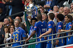 LONDON, ENGLAND - Saturday, May 17, 2008: Portsmouth's goalkeeper David James celebrates with the trophy after his side beat Cardiff City 1-0 during the FA Cup Final at Wembley Stadium. (Photo by David Rawcliffe/Propaganda)