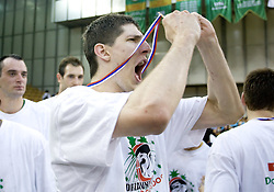 Damjan Rudez celebrates at third finals basketball match of Slovenian Men UPC League between KK Union Olimpija and KK Helios Domzale, on June 2, 2009, in Arena Tivoli, Ljubljana, Slovenia. Union Olimpija won 69:58 and became Slovenian National Champion for the season 2008/2009. (Photo by Vid Ponikvar / Sportida)