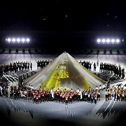 CHOFU, JAPAN - SEPTEMBER 20: In this handout image provided by World Rugby, a general view is seen as artists perform during the Opening Ceremony prior to the Rugby World Cup 2019 Group A game between Japan and Russia at the Tokyo Stadium on September 20, 2019 in Chofu, Tokyo, Japan. (Photo by World Rugby - Handout/World Rugby via Getty Images)