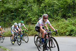 Hannah Barnes (CANYON//SRAM Racing) climbs through the trees with 10km to go at Thüringen Rundfarht 2016 - Stage 2 a 103km road race starting and finishing in Erfurt, Germany on 16th July 2016.