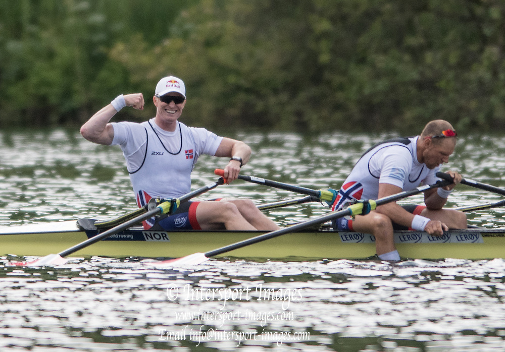 Lucerne, SWITZERLAND<br /> <br /> NOR M2X. Bow. Kjetil BOTCH and Olaf TUFTE, qualifying for Rio 2016 European Olympic Qualifying Regatta, Lake Rotsee.<br /> <br /> Tuesday  24/05/2016<br /> <br /> [Mandatory Credit; Peter SPURRIER/Intersport-images]