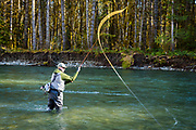 Rob Williamson spey casting. Cowichan River, Vancouver Island, BC
