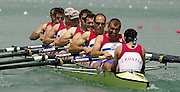 2003 - FISA World Cup Rowing Milan Italy.30/05/2003  - Photo Peter Spurrier.CRO M8+ The Croatian men's eight moves away from the start, on the opening day of the first round of the FISA World Cup on the Idroscala Milan italy. [Mandatory Credit: Peter Spurrier:Intersport Images]