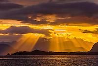 Sunset over Baranof Island, near Freshwater Bay, Inside Passage, Southeast Alaska USA.