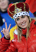 A German fan wearing a crown during the 2010 FIFA World Cup South Africa Group D match between Ghana and Germany at Soccer City Stadium on June 23, 2010 in Johannesburg, South Africa.