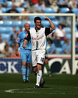 Photo: Rich Eaton.<br /> <br /> Coventry City v Preston North End. Coca Cola Championship. 14/04/2007. David Nugent of Preston heads home his teams second goal  in the first half and celebrates towards the travelling fans