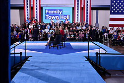 Democratic presidential nominee Hillary Clinton, joined by daughter Chelsea Clinton, at a Family Town Hall meeting  Haverford, Pennsylvania, USA, on October 4, 2016.