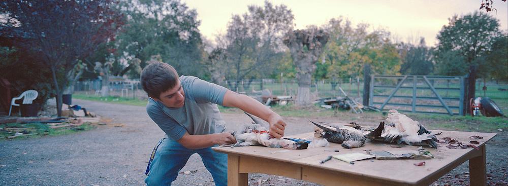 Stephen förbereder de skjutna änderna för middag hemma i Los Molinos. –Alaska är drömplatsen att leva på, säger Steven. Man kan jaga hur mycket man vill och överallt finns det djur att skjuta. Däruppe behöver man inte sin telefon eller dator för att överleva, allt jag behöver är kunna att skaffa fram mat till middagsbordet.