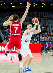 Bojan Bogdanovic of Croatia vs Rowland Schaftenaar of Netherlands during basketball match between Netherlands and Croatia at Day 5 in Group C of FIBA Europe Eurobasket 2015, on September 9, 2015, in Arena Zagreb, Croatia. Photo by Vid Ponikvar / Sportida