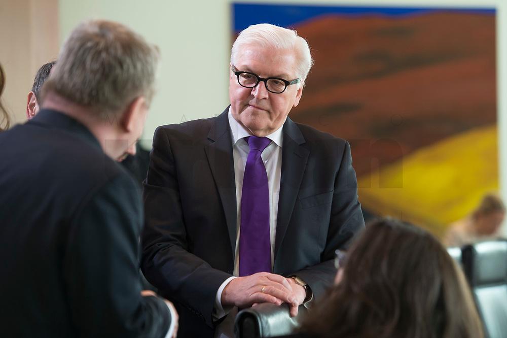 17 FEB 2016, BERLIN/GERMANY:<br /> Frank-Walter Steinmeier (M), SPD, Bundesaussenminister, im Gespraech, vor Beginn der Kabinettsitzung, Bundeskanzleramt<br /> IMAGE: 20160217-01-005<br /> KEYWORDS: Kabinett, Sitzung, Gespräch
