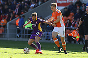 James Dayton and Brad Potts during the EFL Sky Bet League 2 match between Blackpool and Cheltenham Town at Bloomfield Road, Blackpool, England on 22 April 2017. Photo by Antony Thompson.