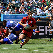 Lloyd Williams scores a first half try vs Manu Samoa as Wales edged Manu Samoa 24-19 on day 2 of the World Cup 7's USA, AT&T Park, San Francisco, California, USA.  Photo by Barry Markowitz, 7/21/18, 3pm