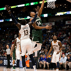 Mar 12, 2019; New Orleans, LA, USA; Milwaukee Bucks forward Giannis Antetokounmpo (34) shoots over New Orleans Pelicans forward Cheick Diallo (13) during the second half at the Smoothie King Center. Mandatory Credit: Derick E. Hingle-USA TODAY Sports