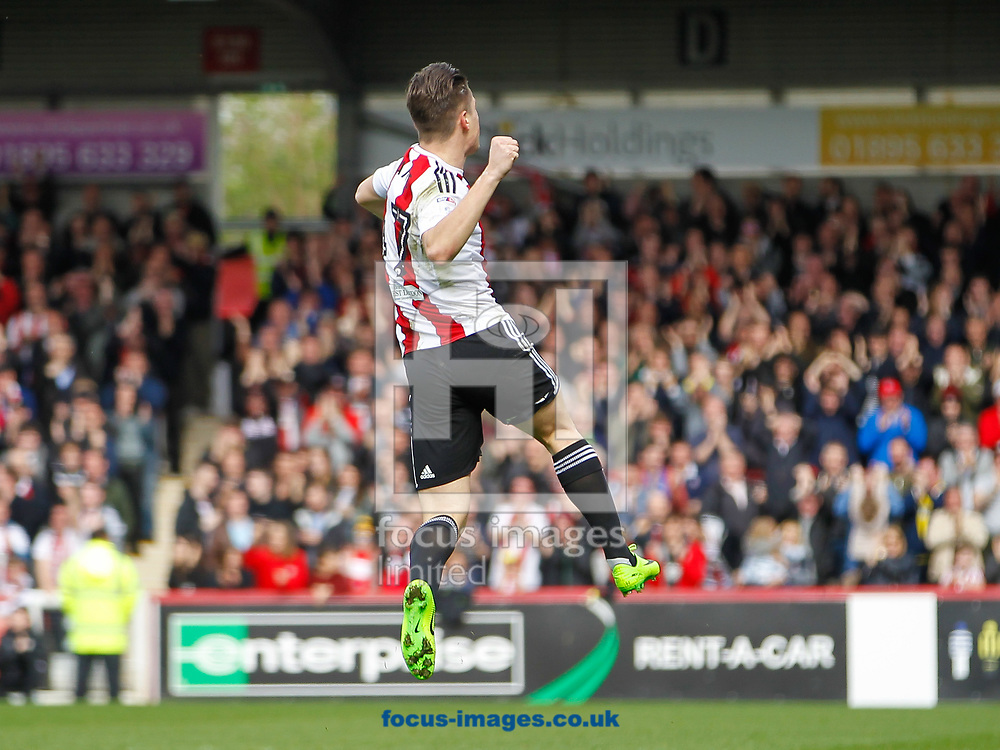 Sergi Can&oacute;s of Brentford celebrates scoring the opening goal during the Sky Bet Championship match between Brentford and Bristol City at Griffin Park, London<br /> Picture by Mark D Fuller/Focus Images Ltd +44 7774 216216<br /> 01/04/2017