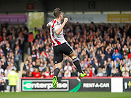 Sergi Canós of Brentford celebrates scoring the opening goal during the Sky Bet Championship match between Brentford and Bristol City at Griffin Park, London<br /> Picture by Mark D Fuller/Focus Images Ltd +44 7774 216216<br /> 01/04/2017