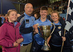 Paul Lambert celebrates with his dad Charlie, mum Rosaleen and sister Ava after Westport&rsquo;s win on saturday night in McHale park.<br />
