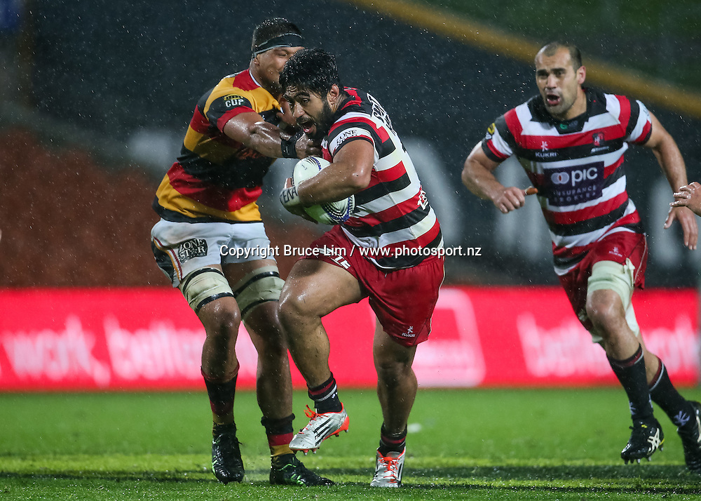 Counties Manukau second five Cardiff Vaega in action during the ITM Cup rugby match - Waikato v Counties at Waikato Stadium on Friday 2 October 2015.  <br /> <br /> Copyright Photo:  Bruce Lim / www.photosport.nz