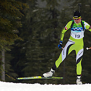 Winter Olympics, Vancouver, 2010. Anastazia Kuzmina, Slovakia, winning the Gold Medal in the Women's 7.5 KM Sprint Biathlon at The Whistler Olympic Park, Whistler, during the Vancouver  Winter Olympics. 13th February 2010. Photo Tim Clayton