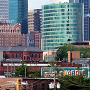 View of Downtown Kansas City Skyline with H&R Block Headquarters and Hotel President.