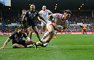 Oliver Gildart of England races under the posts to score but is pulled back for an earlier knock on during the Autumn International Series match at Elland Road, Leeds<br /> Picture by Richard Land/Focus Images Ltd +44 7713 507003<br /> 11/11/2018