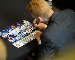 Award winners signing autographs at the 2013-14 Canadian Hockey League Awards Ceremony at the Grand Theatre in London, ON on Saturday May 24, 2014. Photo by Aaron Bell/CHL Images
