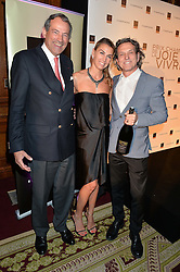 "Left to right, BRUNO PAILLARD, ASSIA WEBSTER and STEPHEN WEBSTER at the presentation of Le Prix Champagne De La Joie de Vivre to Stephen Webster in celebration of his long standing contribution to ""Joie de Vivre' held at the Council Room, One Great George Street, London on 22nd April 2015."