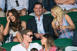 © Licensed to London News Pictures. 08/07/2017. London, UK. VICKY PATTISON, JOHN NOBLE and STACEY SOLOMON watch center court tennis on the sixth of the Wimbledon Lawn Tennis Championships. Photo credit: Ray Tang/LNP