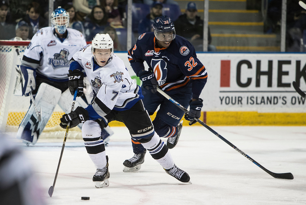 VICTORIA, B.C.: FEBRUARY 11, 2017-  The Kamloops Blazers beat the Victoria Royals 3-1 in Western Hockey League action at the Save-on-Foods Memorial Centre in Victoria, British Columbia on February 11, 2017. (KEVIN LIGHT)