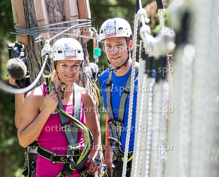 31.07.2013, Alpin Center Hochzeiger, Jerzens, AUT, OeSV, Sommertrainings, im Bild Marlies Schild und Benjamin Raich (AUT) // Marlies Schild und Benjamin Raich of Austria during the summertrainings of the Austrian Ski Team 'OeSV' at Alpin Center Hochzeiger, Jerzens, Austria on 2013/07/31. EXPA Pictures © 2012, PhotoCredit: EXPA/ J. Groder