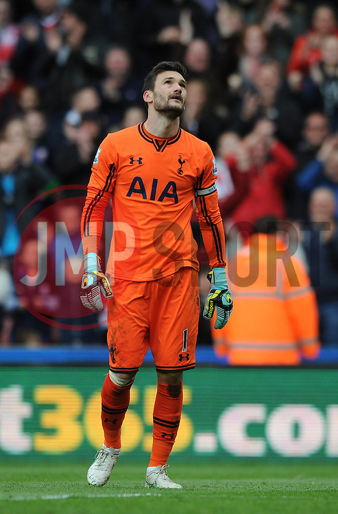 Tottenham Hotspur's Hugo Lloris cuts a dejected figure  - Photo mandatory by-line: Dougie Allward/JMP - Mobile: 07966 386802 - 09/05/2015 - SPORT - Football - Stoke - Britannia Stadium - Stoke v Tottenham Hotspur - Barclays Premier League