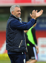 Cheltenham Town assistant manager Russell Milton thanks fans after the final whistle - Mandatory by-line: Nizaam Jones/JMP - 17/04/2017 - FOOTBALL - LCI Rail Stadium - Cheltenham, England - Cheltenham Town v Grimsby Town - Sky Bet League Two
