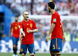 July 1, 2018 - Moscow, Russia - Round of 16 Russia v Spain - FIFA World Cup Russia 2018.Andres Iniesta (Spain)  and Sergi Busquets (Spain) at Luzhniki Stadium in Moscow, Russia on July 1, 2018. (Credit Image: © Matteo Ciambelli/NurPhoto via ZUMA Press)