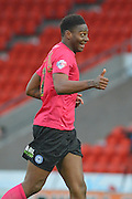 Ricardo Santos (12) of Peterborough Unite gives the thumbs up celebrating scoring to go 2-1 up dduring the Sky Bet League 1 match between Doncaster Rovers and Peterborough United at the Keepmoat Stadium, Doncaster, England on 19 March 2016. Photo by Ian Lyall.