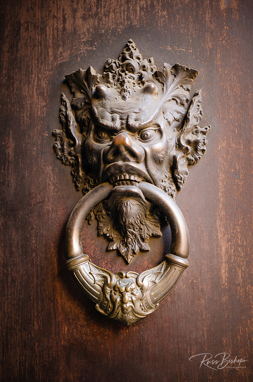 Door knocker detail, Florence, Tuscany, Italy