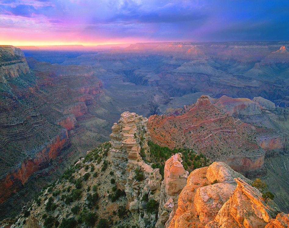 0107-1001LVT ~ Copyright: George H. H. Huey ~ View from Yaki Point at sunset from the South Rim, with storm over North Rim at right. Grand Canyon National Park, Arizona.