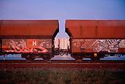 Rail freight train at sunset. Europoort, Port of Rotterdam. © Holland Kodak Ektar series.