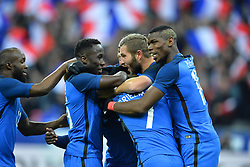 29.03.2016, Stade de France, St. Denis, FRA, Testspiel, Frankreich vs Russland, im Bild diarra lassana, sagna bacary, kante n'golo, gignac andre pierre, griezmann antoine, pogba paul - 19 -, grande une // during the International Friendly Football Match between France and Russia at the Stade de France in St. Denis, France on 2016/03/29. EXPA Pictures © 2016, PhotoCredit: EXPA/ Pressesports/ LAHALLE PIERRE<br /> <br /> *****ATTENTION - for AUT, SLO, CRO, SRB, BIH, MAZ, POL only*****