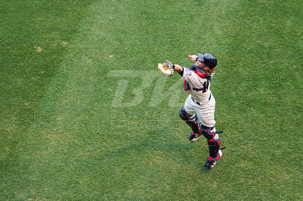Chris Herrmann #12 Minnesota Twins prepares before a game against the Milwaukee Brewers on May 29, 2013 at Target Field in Minneapolis, Minnesota.  The Twins defeated the Brewers 4 to 1.  Photo: Ben Krause