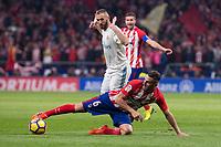 Atletico de Madrid Koke Resurreccion and Real Madrid Karim Benzema during La Liga match between Atletico de Madrid and Real Madrid at Wanda Metropolitano in Madrid, Spain. November 18, 2017. (ALTERPHOTOS/Borja B.Hojas)
