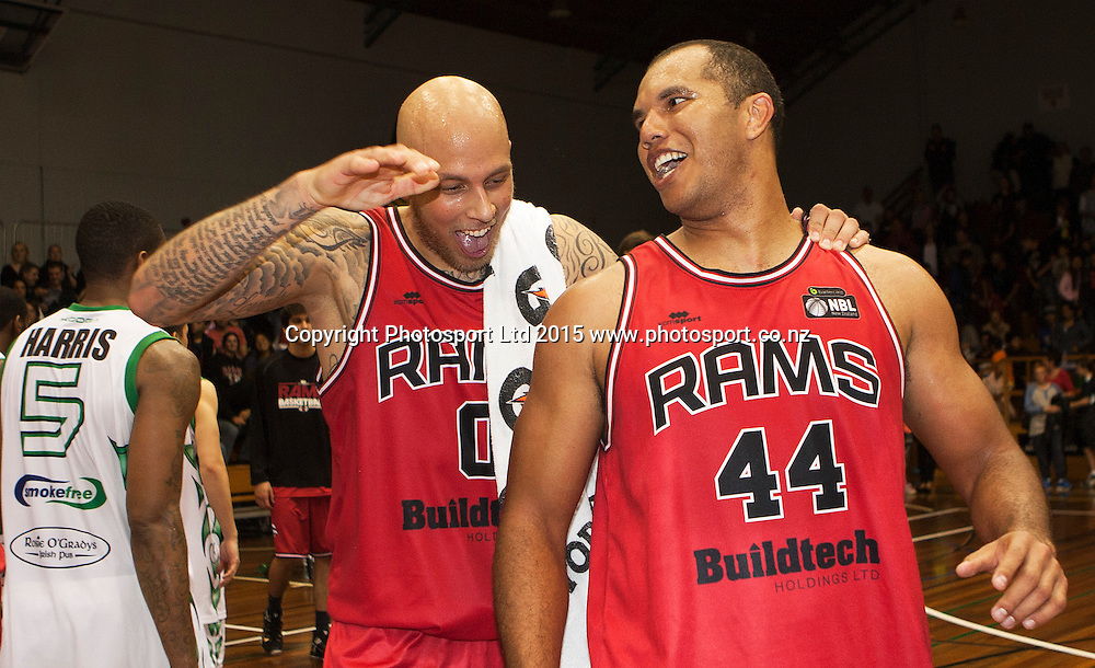 Marques Whippy of the Rams and Richie Edwards celebrate the final shot during the National Basketball League game between the Canterbury Rams v Manawatu Jets at Cowles Stadium in Christchurch. 10th April 2015 Photo: Joseph Johnson/www.photosport.co.nz