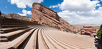 Panorama of an empty Red Rock Park and Amphitheater in Morrison, Colorado.