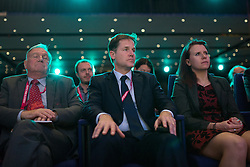 © Licensed to London News Pictures . 04/10/2014 . Glasgow , UK . Liberal Democrat leader and Deputy Prime Minister NICK CLEGG (c) , listens to Lynne Featherstone , along with Sir Malcolm Bruce (left) . The Liberal Democrat Party Conference 2014 at the Scottish Exhibition and Conference Centre in Glasgow . Photo credit : Joel Goodman/LNP