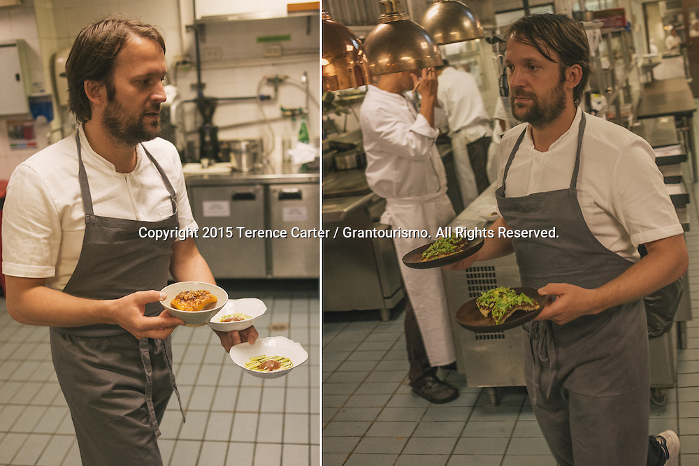 As service gets into the groove, Chef Redzepi starts running more and more plates to the tables to chat with the often-startled guests. It's not every day that one of the world's best chefs is your 'waiter' for the evening. Copyright 2015 Terence Carter / Grantourismo. All Rights Reserved.