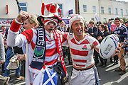 Japanese fans during the Rugby World Cup Pool B match between Scotland and Japan at the Kingsholm Stadium, Gloucester, United Kingdom on 23 September 2015. Photo by Shane Healey.
