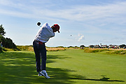 John Pak (USA) drives off the third tee during the Saturday Singles in the Walker Cup at the Royal Liverpool Golf Club, Saturday, Sept 7, 2019, in Hoylake, United Kingdom. (Steve Flynn/Image of Sport)