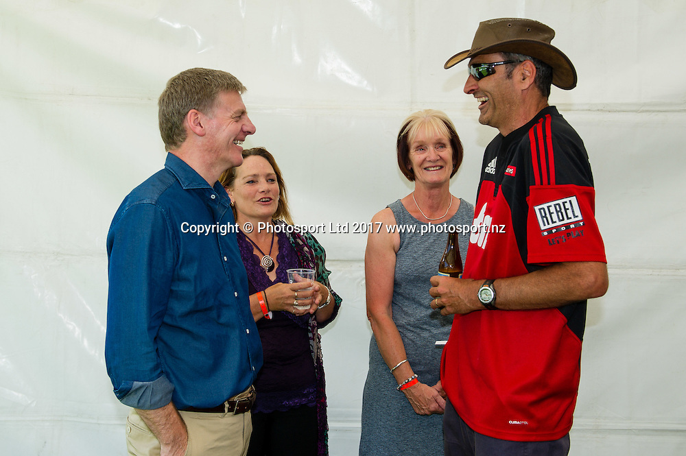 Prime minister Bill English talks rughby with crusaders supporters, during the Farmlands Cup Super Rugby pre season match Crusaders V Highlanders, Darfield, New Zealand, 4th February 2017.Copyright photo: John Davidson / www.photosport.nz